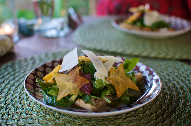 Yuca & Starfruit Tostada Salad with yuca, arugula, carambola with a hibiscus key lime vinaigrette at the Three Sisters Farm dinner photographed by Ben Guzman for The Jam Garden