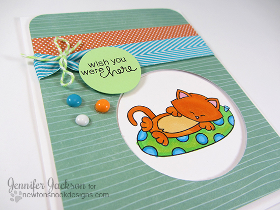 Summer Kitty card by Jennifer Jackson | Newton's Nook Designs | Newton's Summer Vacation Cat Stamp