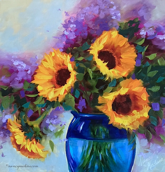 http://www.nancymedina.com/available-paintings/brink-of-spring-sunflowers