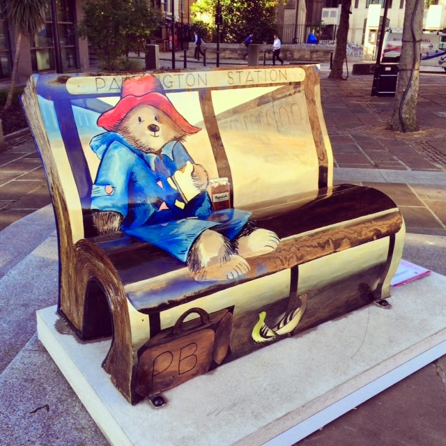 Book shaped Bench in London painted with Paddington Bear figure on it.