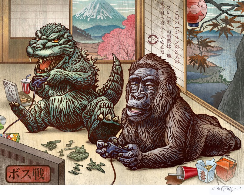 03-Godzilla-&-King-Kong-Chet-Phillips-Childhood-Japanese-Styled-Illustrations-www-designstack-co