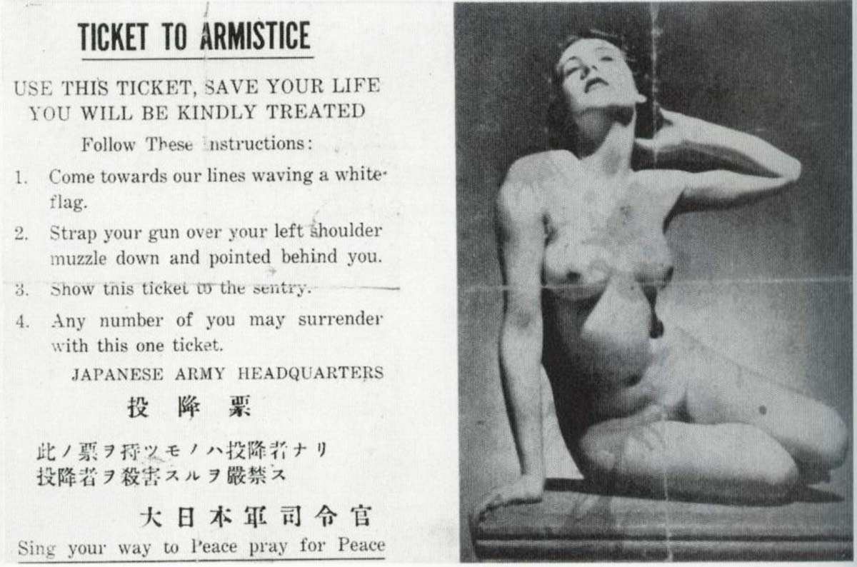 Sometimes the Japanese used sexual images in order to influence Allied soldiers to pick up surrender leaflets.