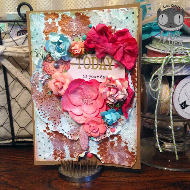 mixed media, scrapbooking, custom, handmade, card making, card, mother's day, flowers, Prima Marketing, Tim Holtz, doily, crinkle ribbon, gems, bling, Marion Smith Designs, bloom impressions, gesso, crackle paint, coral, teal, turquoise, aqua, resin, feather, kraft, paper crafts, enamel dots