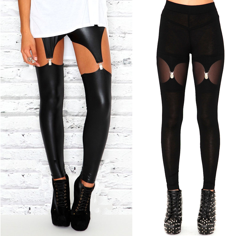 suspender garter chap leggings tights affordable wet look missguided cheap black milk dupe