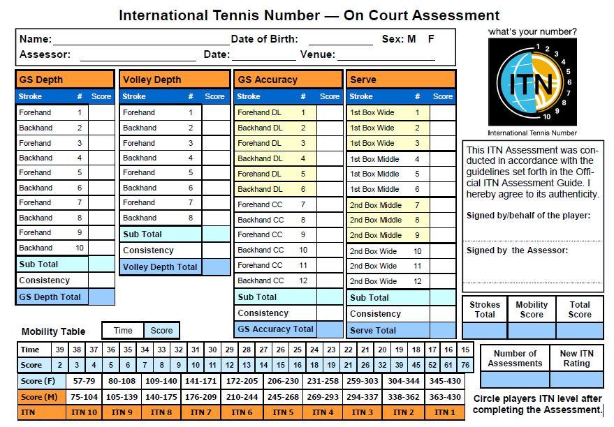 Tennis Score Sheet