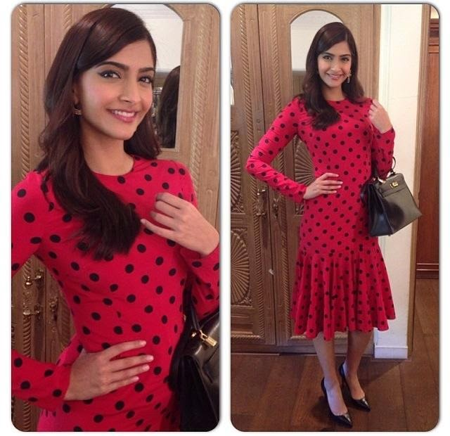 Sonam Kapoor at In Dolce & Gabbana during Bewakoofiyaan promotions!
