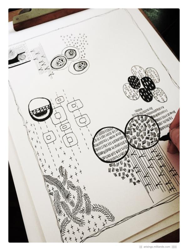     Playful Explorations of Shape Relationships         7         Arisings, sketchbook, arisings, lines, pattern, surface design, surface pattern, textiles, journal, design, capi, milliande,
