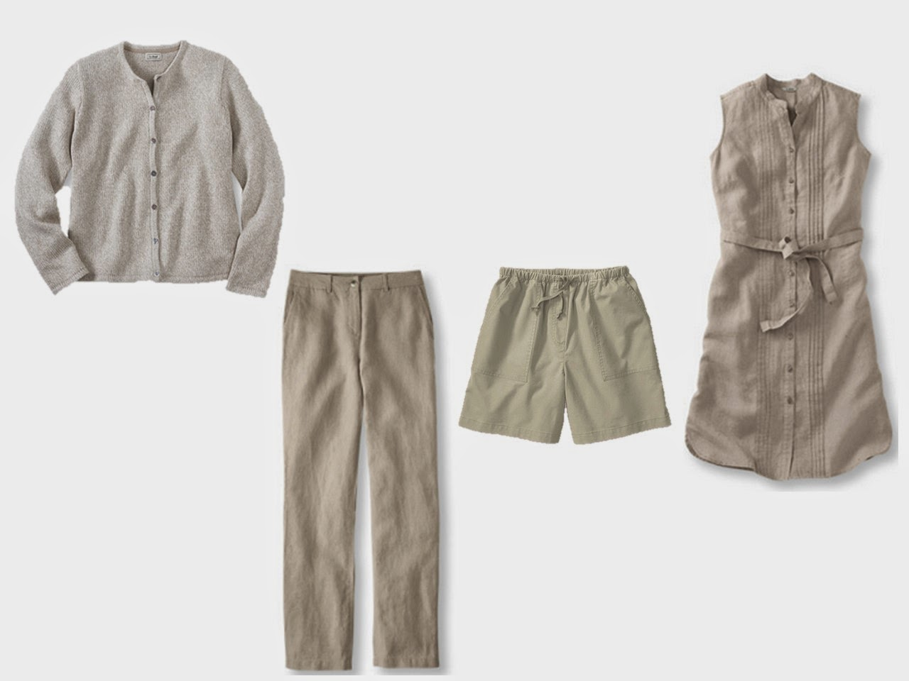 beige core of four wardrobe of cardigan dress pants and shorts