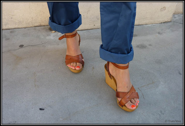 sandales compensées Jonak cuir naturel, pedicure OPI on Collins Ave., Aurore Sfez