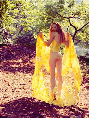 woman in the woods, model wearing sheer yellow gown, floral, Kluk CGDT, Photographe de mode Paris