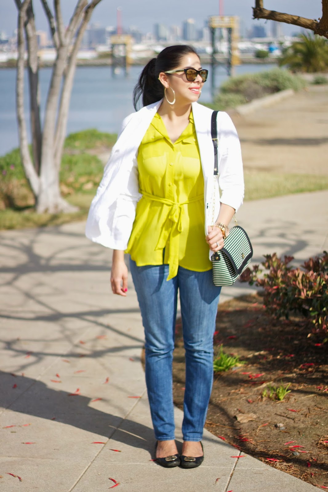 White Linen Blazer, Charlotte Russe Blazer, Neon Yellow Sheer Top, Forever 21 Neon Yellow Top, Hudson Jeans, Tory Burch reva flats