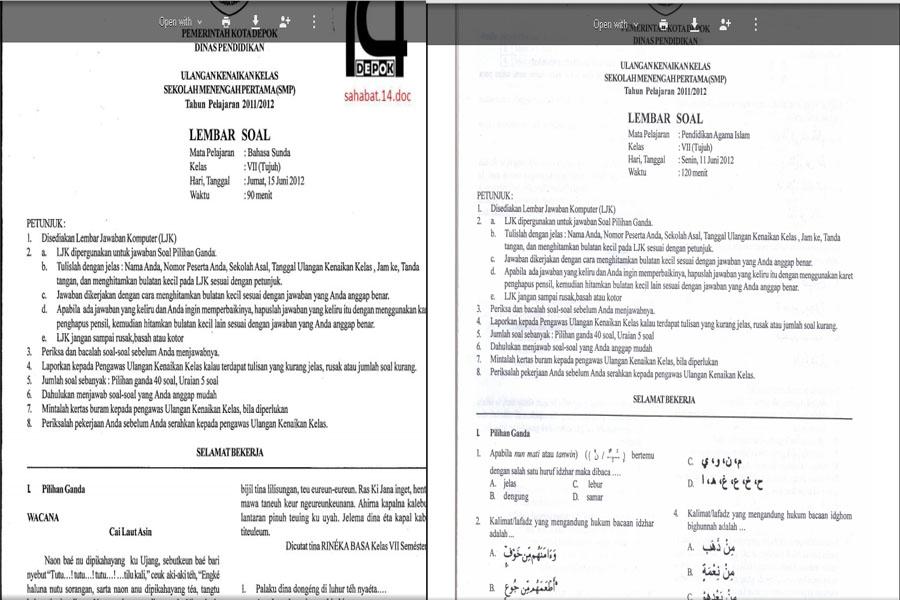 Unduh File Soal Soal Ujian Kenaikan Kelas Ukk Smp