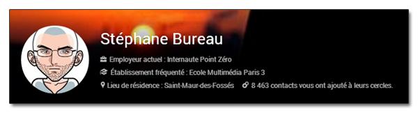 Informations dans la couverture de profil Google+