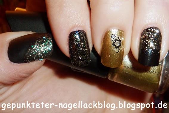 Gepunkteter-nagellackblog Nageldesign Gold-Schwarz