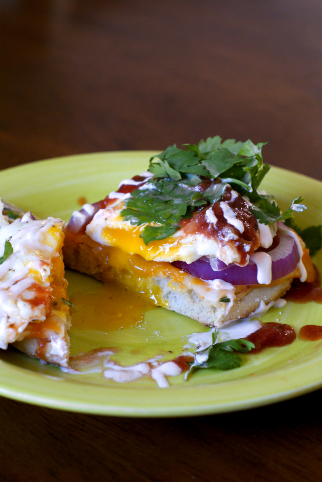 Open-Faced Mexican Fried Egg Sandwich with Sriracha Cream Sauce | thetwobiteclub.com
