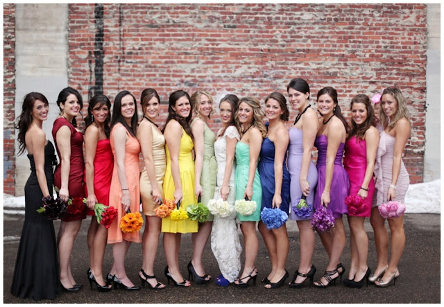 different colored bridesmaids dresses
