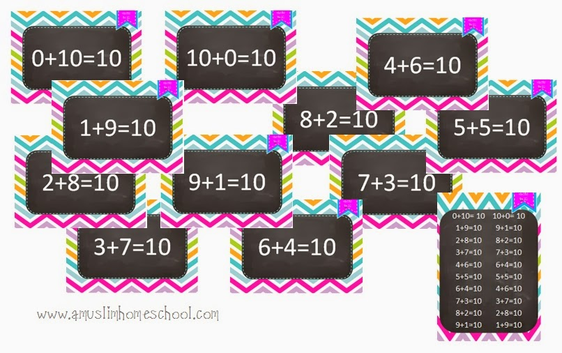 number bonds to 10 printable posters