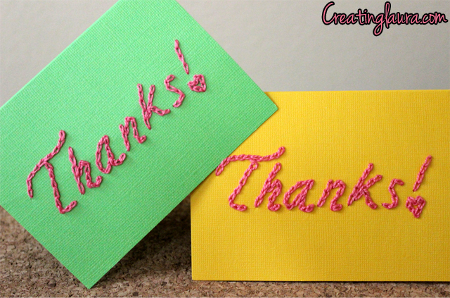 Creating Laura Hand Embroidered Thank You Cards With A Free