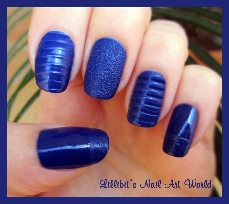 Lillibit´s Nail Art World: Azul brillo-mate-arena