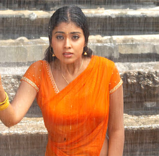shreya photos wet in saree rain