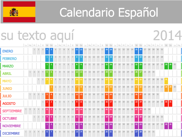 calendario español 2014 vector
