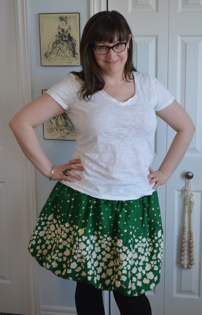 St. Patrick's Day Nani Iro Bubble Skirt sewn by Cicely Ingleside