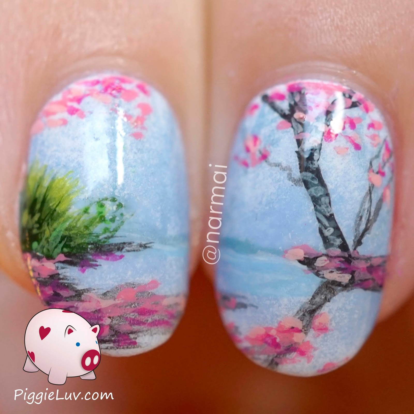 Piggieluv freehand blossoms landscape nail art freehand blossoms landscape nail art prinsesfo Image collections