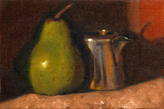 Oil painting of a green pear beside a small silver-plated jug.