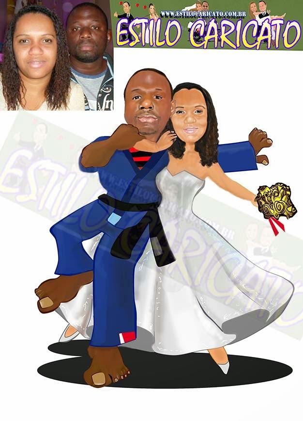 caricatura dos noivos para convite o judoca