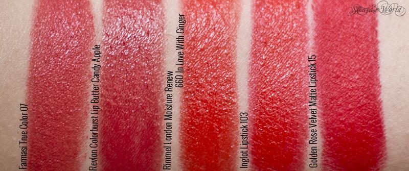 colectie rujuri rosu-portocalii Farmasi Revlon Rimmel Inglot Golden Rose swatch
