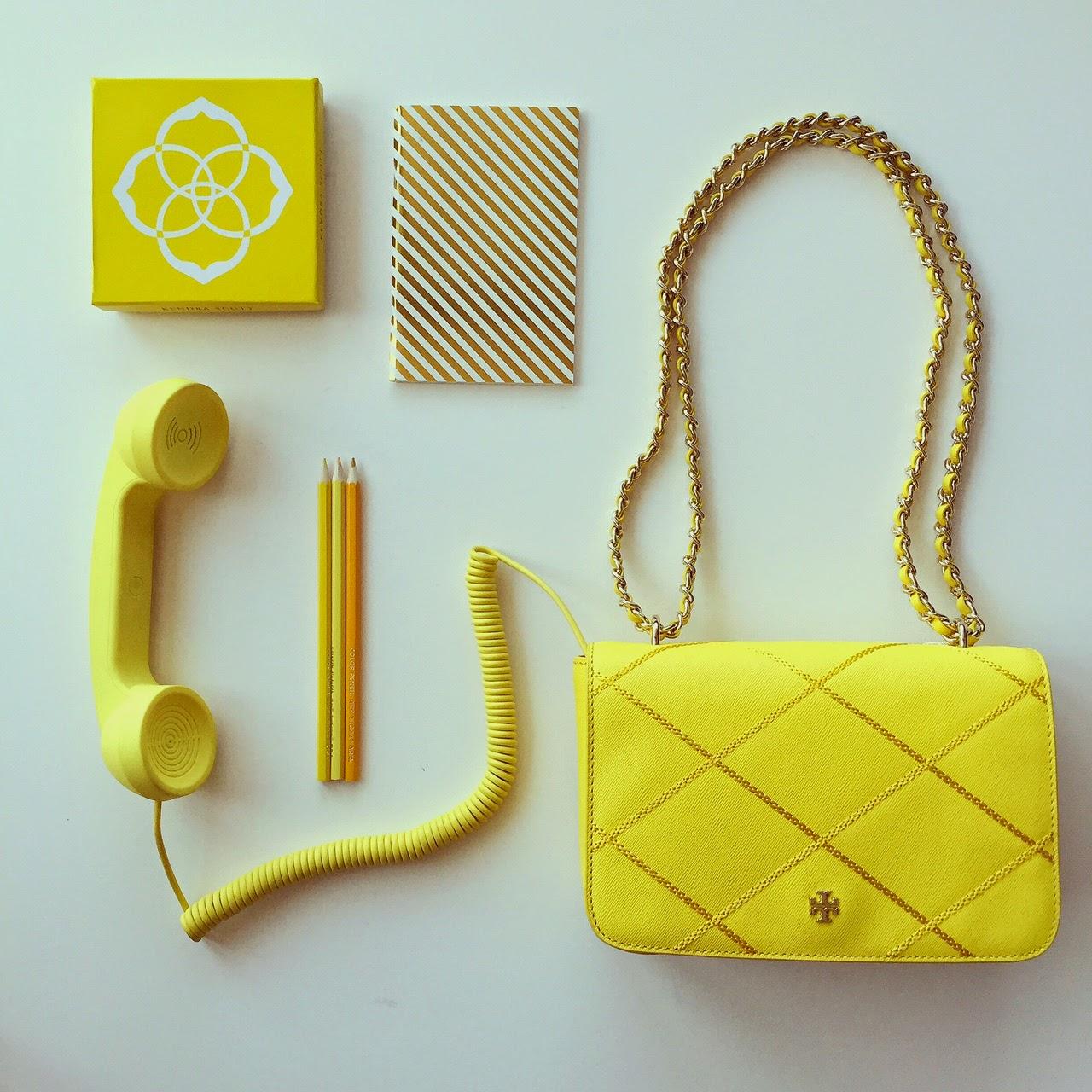 Tory Burch Robinson stitiched bag, yellow handset, katespade notebook, kendra scott rachel double ring, aotd, jotd, fashion blog