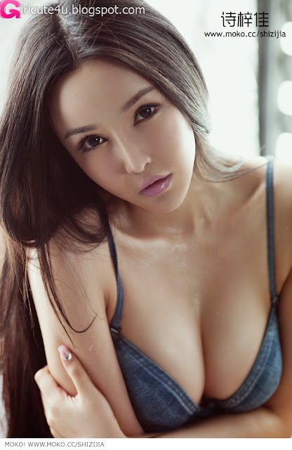 Shi-Zi-Jia-Denim-Lingerie-06-very cute asian girl-girlcute4u.blogspot.com