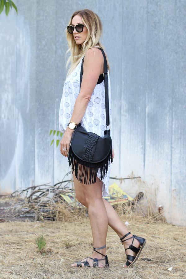 black fringe cross body handbag