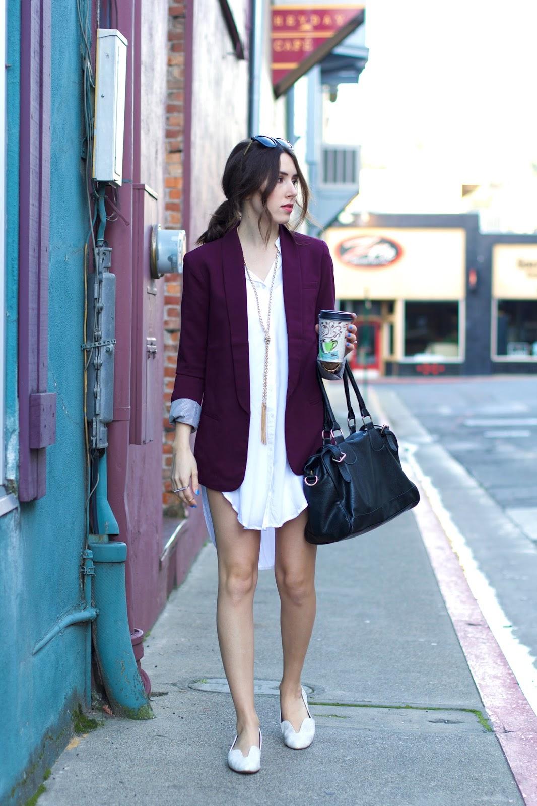 white-shirt-dress,marsala-colored-blazer, white-flats