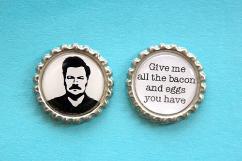 Gift #5 - Ron Swanson Inspired Flattened Bottle Cap Magnets