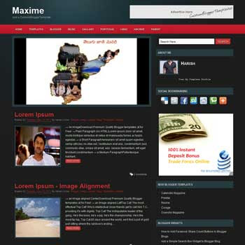 Maxime blog template. template image slider blog. magazine blogger template style. wordpress them to blogger template