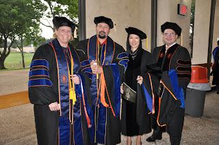 Four of the five new Ph.D. graduates are (l to r) Kim Schnurbush, Robert Pullin, Ji Seun Sohn and Hector Garcia.