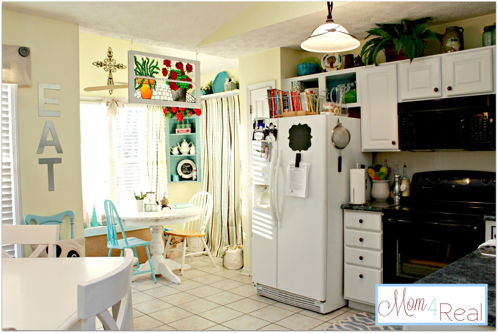 White Kitchen Aqua Accents open cabinets with white, aqua, lime green, & silver accents - mom