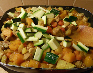 Cooking Curry in Pan; Zucchini has just been added