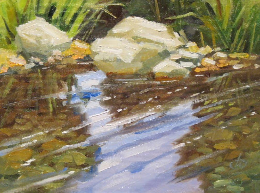 tom brown fine art  quiet stream  plein air painting by