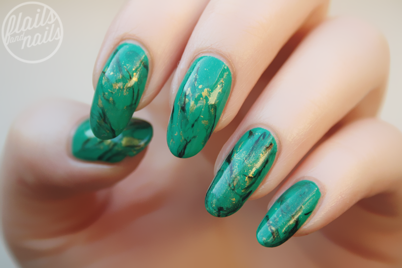 Green Marble Nail Art With Models Own Diamond Luxe Emerald Green
