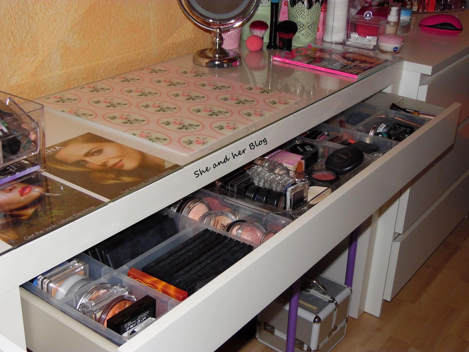 she and her update meine schminkecke und aufbewahrung. Black Bedroom Furniture Sets. Home Design Ideas