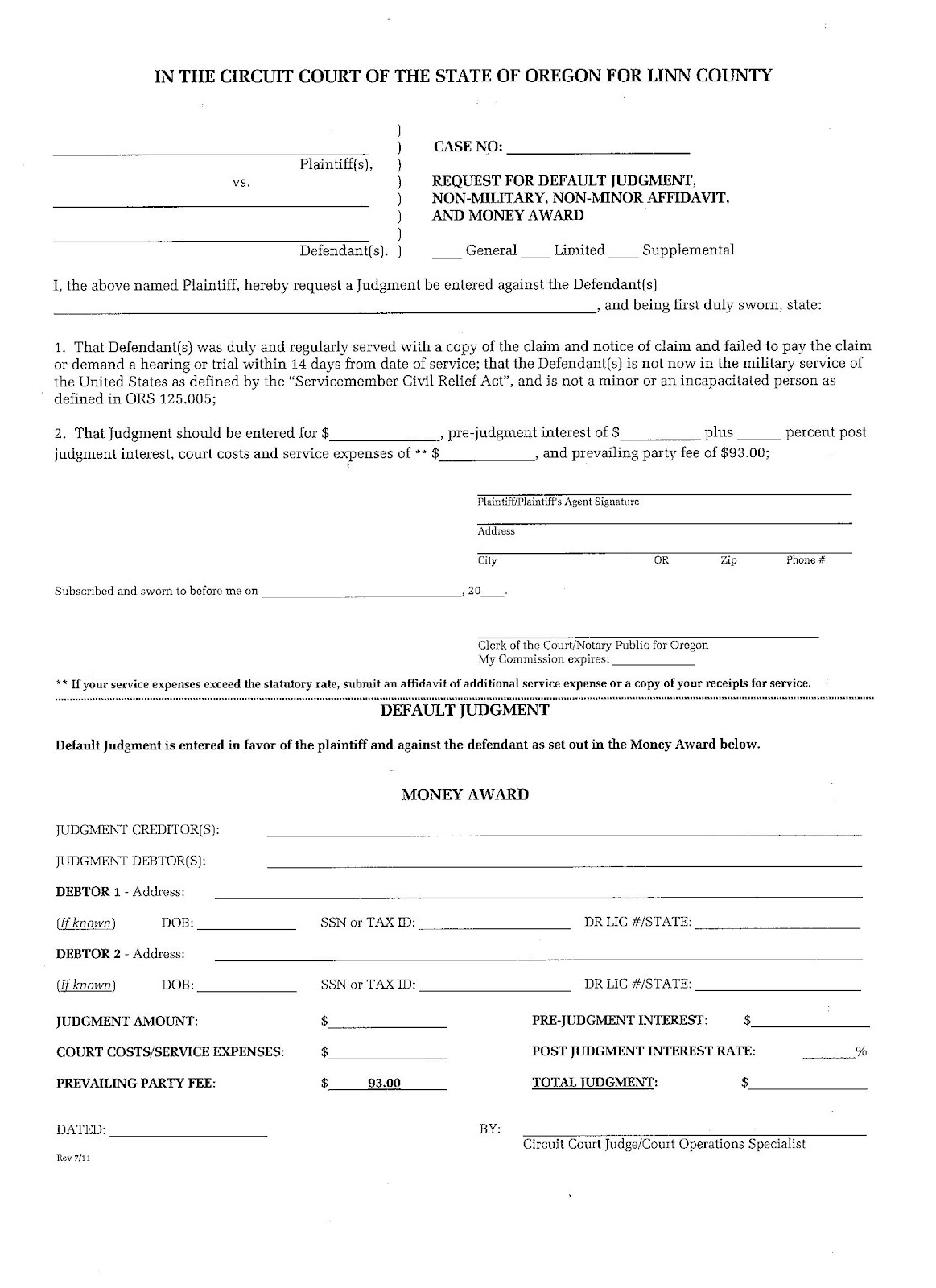 This Is What The Form Looks Like That A Person Uses That Is Owed Money In  Linn County In The State Of Oregon