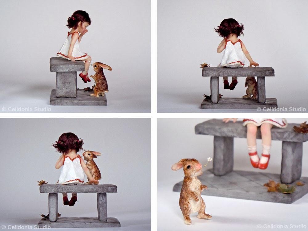OOAK Art Doll, Bimba con amico Coniglio in scala 1/12