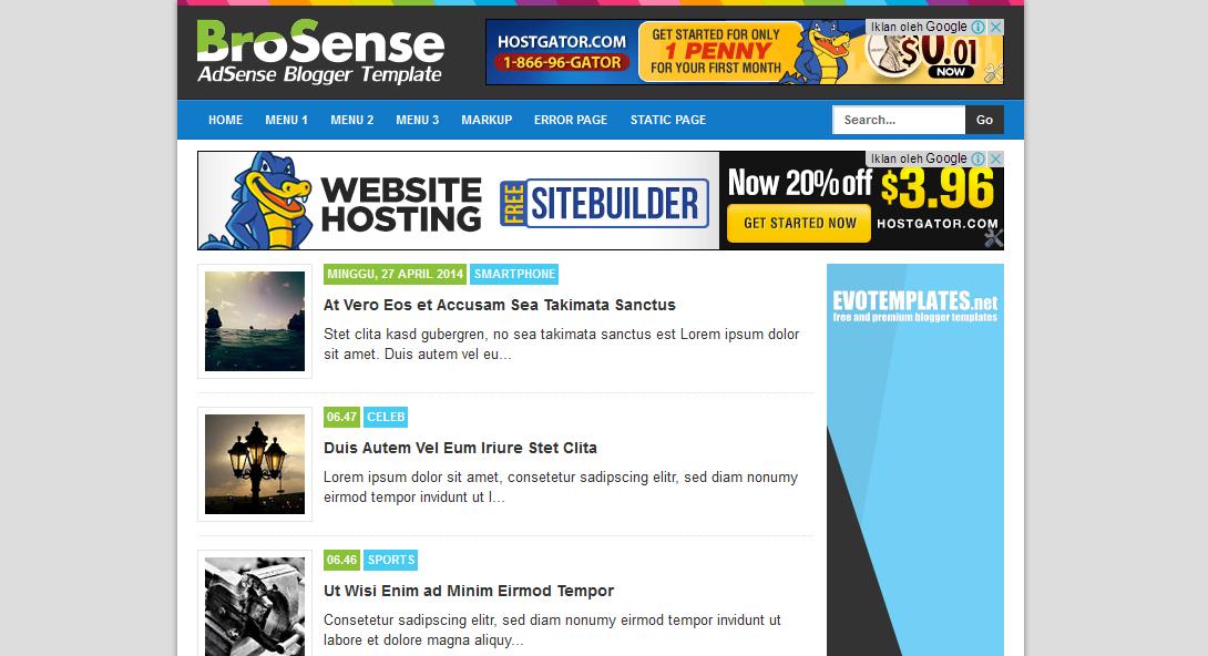 BroSense Responsive | AdSense Blogger Template