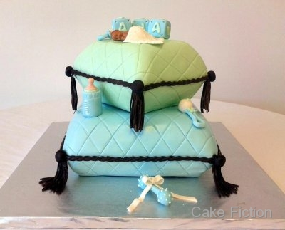 ... green fondant pillow baby shower cake for a party at bonte in south