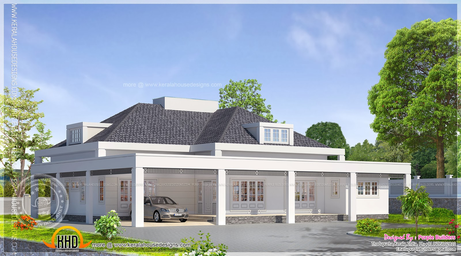 Single floor european model house indian house plans for South indian model house plan
