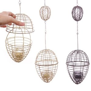 Tealight candle holder decorative wire hanging egg for Egg tray wall hanging