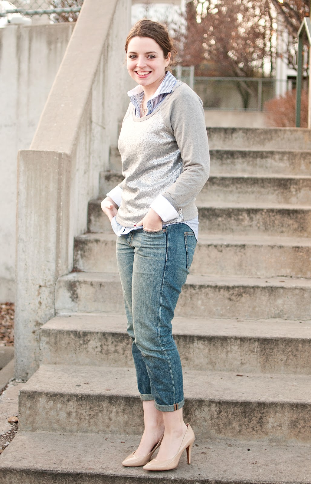 Sequin Sweatshirt with Boyfriend Jeans and Heels