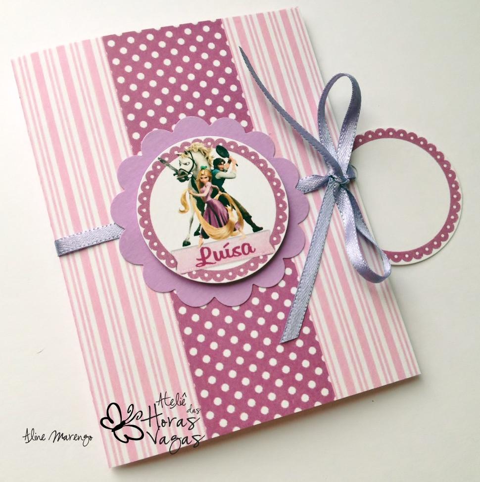 convite artesanal aniversário infantil filme enrolados princesa rapunzel lilás rosa roxo púrpura menina